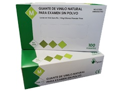 Guante de vinilo natural sin polvo Ref. 60112