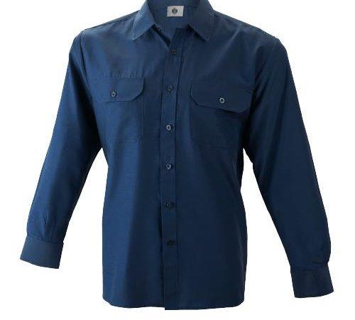 Camisa manga larga 2 bolsillos algodón
